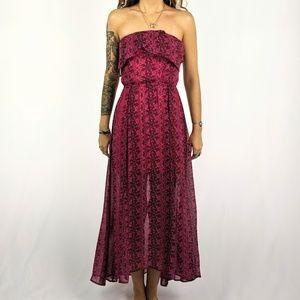 Strapless Sheer Pink Maxi Summer Dress
